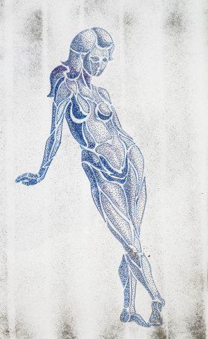 Blue Nud, ink on paper, 30-42cm