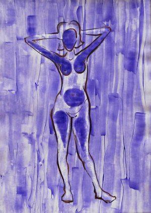 Violet, acrylic on paper, 30-42cm
