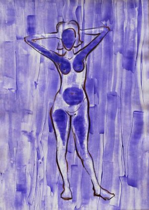 Violet, acrylic on paper, 30-42cm